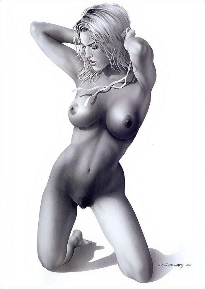 Рисованные голые девушки эро художников