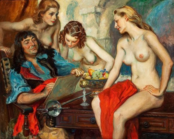 4 Рисованные голые девушки эро художников