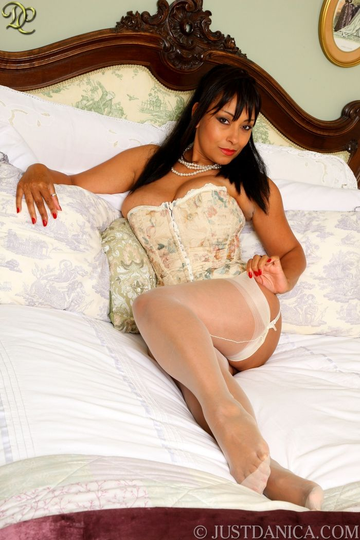 Brunette Babe Danica Collins with Big Tits Wearing Stockings in Bed 1 1 Стоя раком в обалденном белье