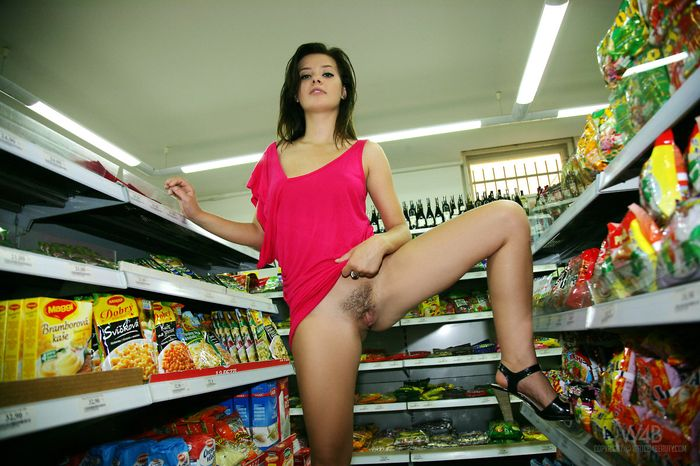 Hairy Anna Tatu with Thick Labia from W4B Wearing Pink Dress in Shop 12 1 Голая в супермаркете светит сиськами и жопой