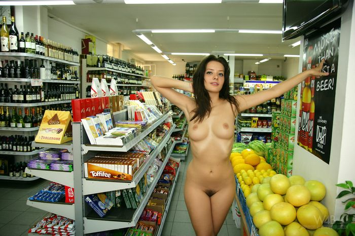 Hairy Anna Tatu with Thick Labia from W4B Wearing Pink Dress in Shop 15 1 Голая в супермаркете светит сиськами и жопой