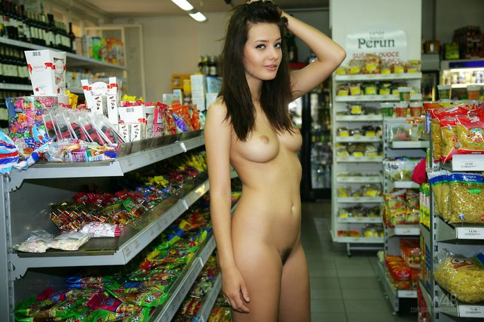 Hairy Anna Tatu with Thick Labia from W4B Wearing Pink Dress in Shop 2 1 Голая в супермаркете светит сиськами и жопой